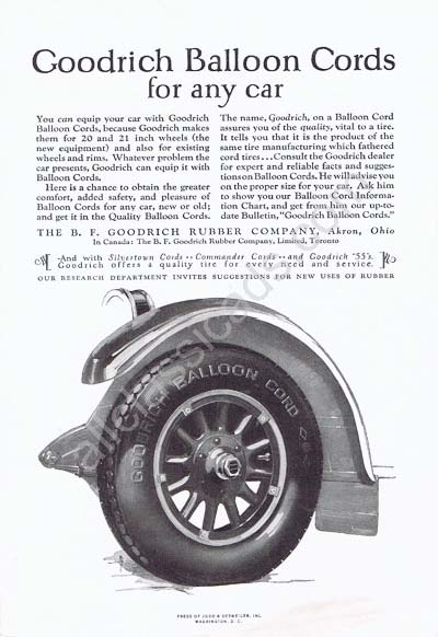 1924 B.F. Goodrich balloon silvertown commander cords tires ad