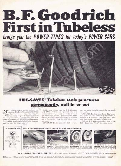 1955 B. F. Goodrich Tubeless ad
